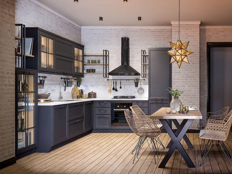Лофт кухня с элементами готики